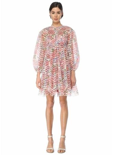 Zimmermann Zimmermann 101598406 Poppy Delikli Nakışlı Desenli Mini Kadın Elbise Renkli